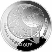 Australia 5 Dollars Netball World Cup 2015 NETBALL WORLD CUP 5 DOLLARS coin reverse