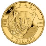 Canada 5 Dollars The Polar Bear 2013 Proof KM# 1401 CANADA 2013 5 DOLLARS coin reverse
