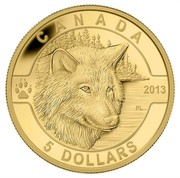 Canada 5 Dollars The Wolf 2013 Proof KM# 1454 CANADA 2013 5 DOLLARS coin reverse