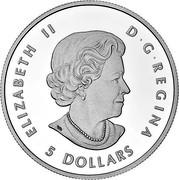 Canada 5 Dollars The Wolf 2016 ELIZABETH II D • G • REGINA 5 DOLLARS SB coin obverse
