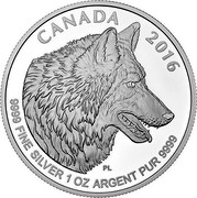 Canada 5 Dollars The Wolf 2016 CANADA 2016 9999 FINE SILVER 1 OZ ARGENT PUR 9999 PL coin reverse