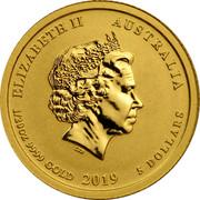 Australia 5 Dollars Year of the Pig 2019 ELIZABETH II AUSTRALIA 1/20 OZ 9999 GOLD 2019 5 DOLLARS IRB coin obverse