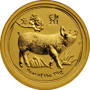 Australia 5 Dollars Year of the Pig 2019 YEAR OF THE PIG P coin reverse