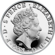 UK 5 Pence Britannia 2018 Proof 5 PENCE • ELIZABETH II • D • G • REG • F • D J.C coin obverse