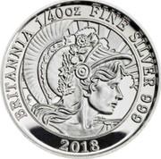 UK 5 Pence Britannia 2018 Proof BRITANNIA 1/40 OZ FINE SILVER 999 2018 coin reverse