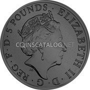 UK 5 Pounds (The Queen's Beasts - Black Bull of Clarence)  coin obverse