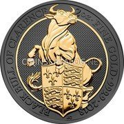 UK 5 Pounds (The Queen's Beasts - Black Bull of Clarence)  coin reverse