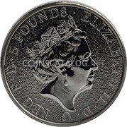 UK 5 Pounds (The Queen's Beasts, Red Dragon of Wales) 5 POUNDS ELIZABETH II D·G·REG·F·D coin obverse