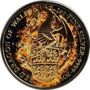 UK 5 Pounds (The Queen's Beasts, Red Dragon of Wales) RED DRAGON OF WALES 2 OZ FINE SILVER 999.9 2017 coin reverse