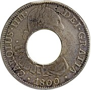 Canada 5 Shilling Charles IIII Holey Dollar 1791-1808 KM# 2.1 CAROLUS·IIII· · 1800 · DEI·GRATIA coin obverse