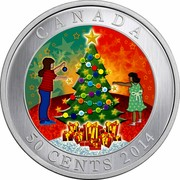 Canada 50 Cents Christmas Tree - Lenticular Coin 2014 Proof KM# 1775 CANADA 50 CENTS coin reverse