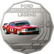 Australia 50 Cents Ford High Octane - 1969 Mustang Boss 302 Trans-Am 2018 CoinCard FORD MOTORSPORT LEGEND 50 MUSTANG BOSS 302 1969 coin reverse