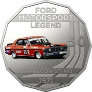 Australia 50 Cents Ford High Octane - 1971 XY Falcon GT-HO Phase III 2018 CoinCard FORD MOTORSPORT LEGEND 50 XY FALCON GT-HO 1971 coin reverse