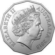 Australia 50 Cents Ford High Octane - 1981 XD Falcon Tru-Blu 2018 CoinCard ELIZABETH II AUSTRALIA 2018 IRB coin obverse