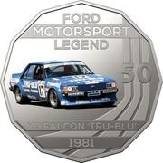 Australia 50 Cents Ford High Octane - 1981 XD Falcon Tru-Blu 2018 CoinCard FORD MOTORSPORT LEGEND 50 XD FALCON TRU-BLU 1981 coin reverse