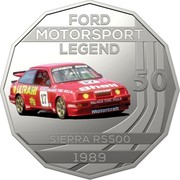 Australia 50 Cents Ford High Octane - 1989 Sierra RS500 Cosworth 2018 CoinCard FORD MOTORSPORT LEGEND 50 SIERRA RS500 1989 coin reverse
