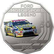 Australia 50 Cents Ford High Octane - 2006 BA Falcon 2018 CoinCard FORD MOTORSPORT LEGEND 50 BA FALCON 2006 coin reverse