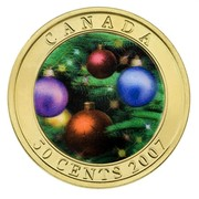 Canada 50 Cents Holiday Ornaments 2007 Specimen, Lenticular CANADA 50 CENTS coin reverse