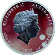 Australia 50 Cents Lunar Dog - In Love 2018 P Proof ELIZABETH II AUSTRALIA 1/2 OZ 9999 AG 2018 50 CENTS coin obverse