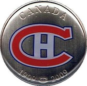 Canada 50 Cents Montreal Canadiens 1909 2009 2009  CANADA 1909 2009 coin reverse