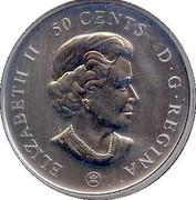 Canada 50 Cents Montreal Canadiens 2009  ELIZABETH II 50 CENTS D.G. REGINA coin obverse