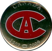 Canada 50 Cents Montreal Canadiens 2009  CANADA 1909-2009 coin reverse