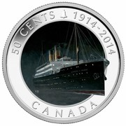 Canada 50 Cents R.M.S. Empress of Ireland - Lost Ships in Canadian Waters 2014 Proof KM# 1636 50 CENTS 1914-2014 CANADA coin reverse