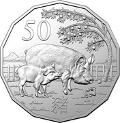 Australia 50 Cents The Pig 2019 UNC in Coincard 50 SMS 猪 coin reverse