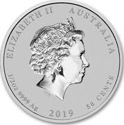 Australia 50 Cents Year of the Pig 2019 ELIZABETH II AUSTRALIA 1/2 OZ 9999 AG 2019 50 CENTS coin obverse