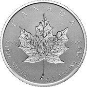 Canada 50 Dollars (30th Anniversary of the Silver Maple Leaf) CANADA 9999 9999 FINE SILVER 3 OZ ARGENT PUR coin reverse