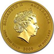 Australia 50 Dollars Lunar Ox BU (Colorized) 2009 ELIZABETH II AUSTRALIA 1/2 OZ 9999 GOLD 2009 50 DOLLARS IRB coin obverse