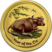 Australia 50 Dollars Lunar Ox BU (Colorized) 2009 YEAR OF THE OX P coin reverse