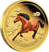 Australia 50 Dollars Year of the Horse (Colored) 2014 P YEAR OF THE HORSE P TV coin reverse