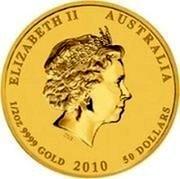 Australia 50 Dollars Year of the Tiger (Colored) 2010 P ELIZABETH II AUSTRALIA 1/2 OZ 9999 GOLD 2010 50 DOLLARS IRB coin obverse