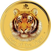 Australia 50 Dollars Year of the Tiger (Colored) 2010 P YEAR OF THE TIGER P coin reverse