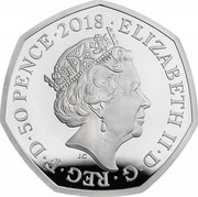 UK 50 Pence 40th Anniversary of The Snowman 2018 Proof ELIZABETH II D G REG F D 50 PENCE 2018 J.C coin obverse