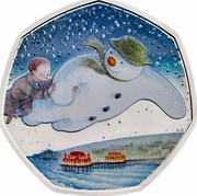 UK 50 Pence 40th Anniversary of The Snowman 2018 Proof  coin reverse