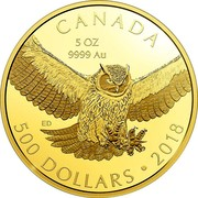 Canada 500 Dollars Great Horned Owl 2018 Proof CANADA 5 OZ 9999 AU 500 DOLLARS • 2018 ED coin reverse