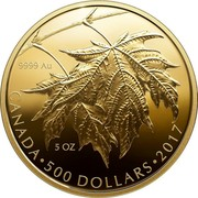 Canada 500 Dollars Maple Leaves 2017 Prooof 9999 AU 5 OZ CANADA • 500 DOLLARS • 2017 MB coin reverse