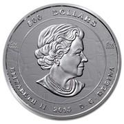 Canada 500 Dollars The Dance Screen 2015 Proof 500 DOLLARS 5 KG 9999 5 KG 9999 ELIZABETH II 2015 D ∙ G ∙ REGINA coin obverse