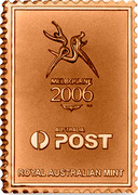 Australia 50C 2006 Australian Commonwealth Games Melbourne Stamp Ingots 2006 MELBOURNE 2006 ™© AUSTRALIA POST ROYAL AUSTRALIAN MINT coin obverse