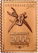 Australia 50C 2006 Australian Commonwealth Games Melbourne Stamp Ingots 2006 AUSTRALIA 50C MELBOURNE 2006 XVIII COMMONWEALTH GAMES ™© coin reverse