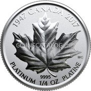 Canada 75 Dollars (Fractional Set - A Royal Wedding Anniversary) 1947 CANADA 2017 9995 MC PLATINUM 1/4 OZ PLATINE coin reverse