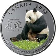 Canada 8 Dollars Peaceful Panda - A Gift of Friendship 2018 BU CANADA 2018 FRIENDSHIP AMITIÉ FINE SILVER 9999 ARGENT PUR 8 DOLLARS coin reverse