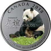 Canada 8 Dollars (Peaceful Panda - A Gift of Friendship)  coin reverse