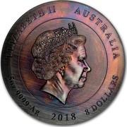 Australia 8 Dollars Rare Earth 2018 ELIZABETH II AUSTRALIA 5 OZ 9999 AG 2018 8 DOLLARS coin obverse