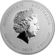 Australia 8 Dollars Year of the Pig 2019 ELIZABETH II AUSTRALIA 5 OZ 9999 AG 2019 8 DOLLARS IRB coin obverse