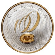 Canada Dollar 100th Anniversary of Montreal Canadiens 2009 Proof in acrillic stand KM# 865 CANADA 1909 2009 DOLLAR coin reverse