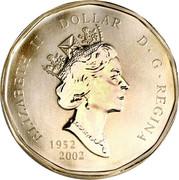 Canada Dollar Family of Loons 1952-2002 2002 KM# 462a ELIZABETH II DOLLAR D • G • REGINA 1952 2002 coin obverse