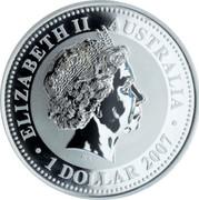 Australia Dollar Year of the Mouse - Gilded 2007 ELIZABETH II AUSTRALIA 1 DOLLAR 2007 IRB coin obverse